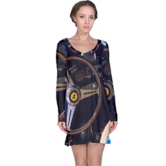 Steering Wheel Ferrari Blue Car Long Sleeve Nightdress