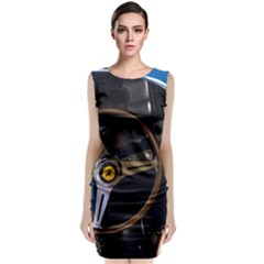 Steering Wheel Ferrari Blue Car Classic Sleeveless Midi Dress