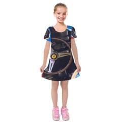 Steering Wheel Ferrari Blue Car Kids  Short Sleeve Velvet Dress