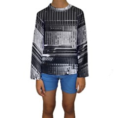 Urban Scene Street Road Busy Cars Kids  Long Sleeve Swimwear