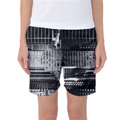 Urban Scene Street Road Busy Cars Women s Basketball Shorts