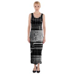 Urban Scene Street Road Busy Cars Fitted Maxi Dress