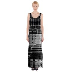 Urban Scene Street Road Busy Cars Maxi Thigh Split Dress