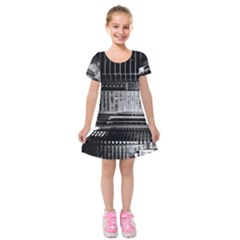 Urban Scene Street Road Busy Cars Kids  Short Sleeve Velvet Dress