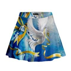 Turtle Doves Christmas Mini Flare Skirt