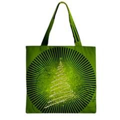 Vector Chirstmas Tree Design Zipper Grocery Tote Bag