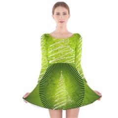 Vector Chirstmas Tree Design Long Sleeve Velvet Skater Dress