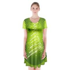 Vector Chirstmas Tree Design Short Sleeve V-neck Flare Dress