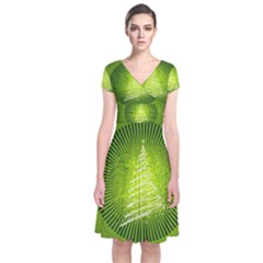 Vector Chirstmas Tree Design Short Sleeve Front Wrap Dress