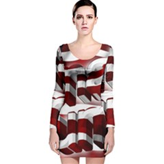 Usa America Trump Donald Long Sleeve Velvet Bodycon Dress