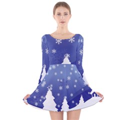 Vector Christmas Design Long Sleeve Velvet Skater Dress