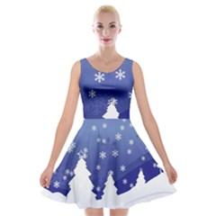 Vector Christmas Design Velvet Skater Dress
