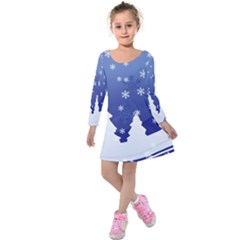 Vector Christmas Design Kids  Long Sleeve Velvet Dress