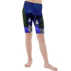 Waiting For The Xmas Christmas Kids  Mid Length Swim Shorts