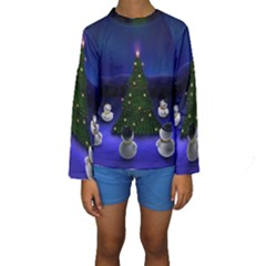 Waiting For The Xmas Christmas Kids  Long Sleeve Swimwear
