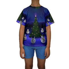 Waiting For The Xmas Christmas Kids  Short Sleeve Swimwear