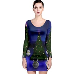 Waiting For The Xmas Christmas Long Sleeve Bodycon Dress