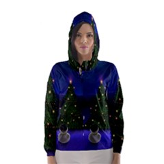 Waiting For The Xmas Christmas Hooded Wind Breaker (Women)