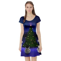 Waiting For The Xmas Christmas Short Sleeve Skater Dress