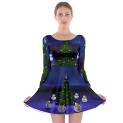 Waiting For The Xmas Christmas Long Sleeve Skater Dress