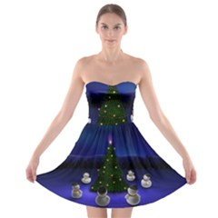 Waiting For The Xmas Christmas Strapless Bra Top Dress