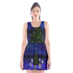 Waiting For The Xmas Christmas Scoop Neck Skater Dress