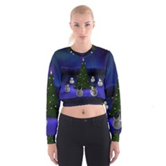 Waiting For The Xmas Christmas Women s Cropped Sweatshirt
