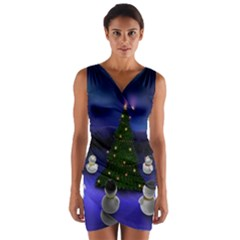 Waiting For The Xmas Christmas Wrap Front Bodycon Dress