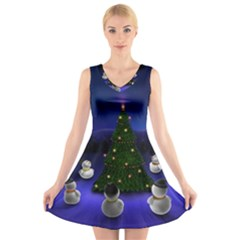 Waiting For The Xmas Christmas V-Neck Sleeveless Skater Dress