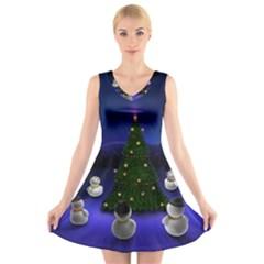 Waiting For The Xmas Christmas V-Neck Sleeveless Skater Dress