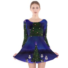 Waiting For The Xmas Christmas Long Sleeve Velvet Skater Dress