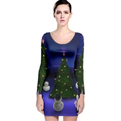 Waiting For The Xmas Christmas Long Sleeve Velvet Bodycon Dress
