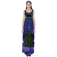 Waiting For The Xmas Christmas Empire Waist Maxi Dress