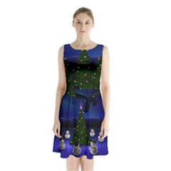 Waiting For The Xmas Christmas Sleeveless Chiffon Waist Tie Dress
