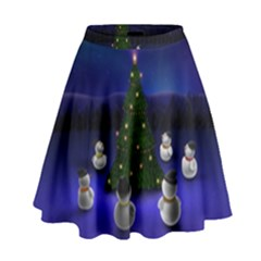 Waiting For The Xmas Christmas High Waist Skirt