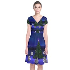 Waiting For The Xmas Christmas Short Sleeve Front Wrap Dress