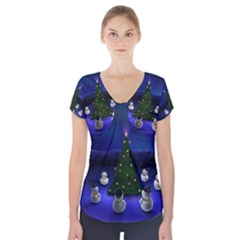 Waiting For The Xmas Christmas Short Sleeve Front Detail Top