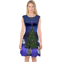 Waiting For The Xmas Christmas Capsleeve Midi Dress