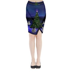 Waiting For The Xmas Christmas Midi Wrap Pencil Skirt