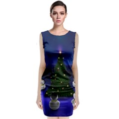 Waiting For The Xmas Christmas Sleeveless Velvet Midi Dress