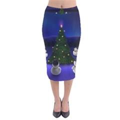 Waiting For The Xmas Christmas Velvet Midi Pencil Skirt