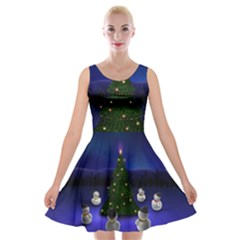 Waiting For The Xmas Christmas Velvet Skater Dress