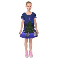 Waiting For The Xmas Christmas Kids  Short Sleeve Velvet Dress