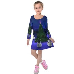Waiting For The Xmas Christmas Kids  Long Sleeve Velvet Dress