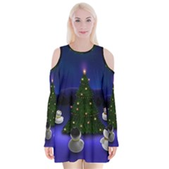 Waiting For The Xmas Christmas Velvet Long Sleeve Shoulder Cutout Dress
