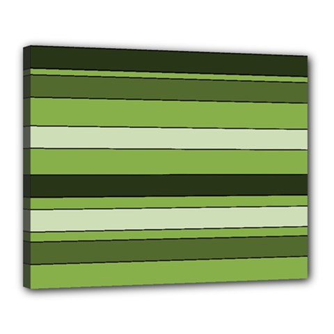 Greenery Stripes Pattern Horizontal Stripe Shades Of Spring Green Canvas 20  x 16