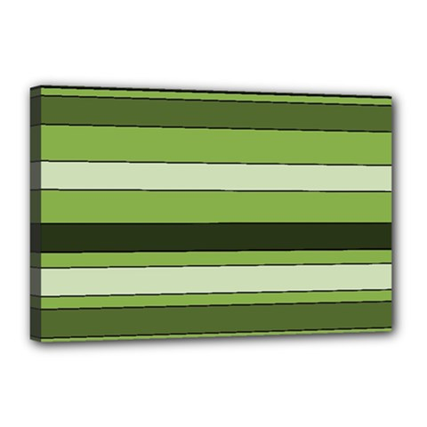 Greenery Stripes Pattern Horizontal Stripe Shades Of Spring Green Canvas 18  x 12