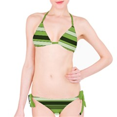 Greenery Stripes Pattern Horizontal Stripe Shades Of Spring Green Bikini Set