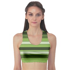 Greenery Stripes Pattern Horizontal Stripe Shades Of Spring Green Sports Bra