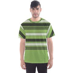 Greenery Stripes Pattern Horizontal Stripe Shades Of Spring Green Men s Sport Mesh Tee